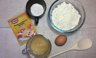 Шаг 1: Подготовьте ингредиенты: творог, яйцо, муку кокосовую, мед и разрыхлитель.
