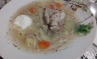 Куриный пп суп с яичной лапшой