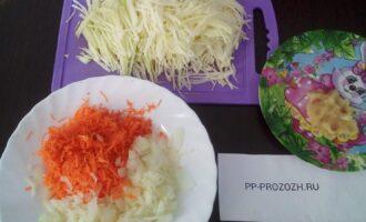 Шаг 2: Нашинкуйте капусту, потрите на терку морковь, порежьте лук, чеснок потрите на терку или пропустите через пресс.
