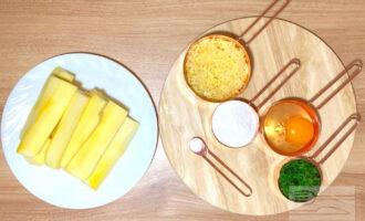 Шаг 1: Подготовьте ингредиенты: кабачок, сыр, яйцо, рисовую муку, зелень и соль.