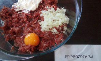 Шаг 2: Перекрутите мясо на мясорубке, добавьте яйцо, сметану, мелко нарезанную луковицу, посолите по вкусу. Перемешайте.
