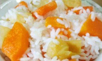 Рис с яблоком и тыквой