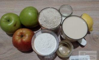 Шаг 1: Подготовьте ингредиенты для шарлотки: измельченные овсяные хлопья, рисовую муку, ряженку, оливковое масло, яблоки, сахарозаменитель, соль, соду и лимонный сок.