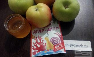 Шаг 1: Подготовьте продукты для джема: яблоки (лучше кисло-сладких сортов), агар-агар, сахарозаменитель или мёд.