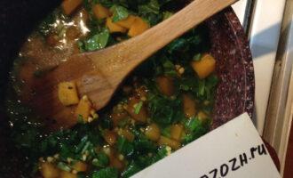 Каша из зеленой гречки с тыквой и шпинатом