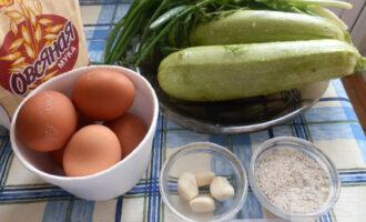 Шаг 1: Подготовьте ингредиенты: кабачки, укроп, петрушку, лук зеленый, чеснок, соль, муку овсяная.