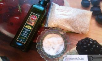 Шаг 1: Подготовьте: кунжут, оливковое масло, щепотку соли.