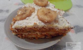 Морковный ПП торт с банановым кремом
