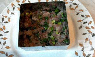 Шаг 7: Возьмите квадратную или круглую форму с прессом и в нее уложите первым слоем рыбу. Затем слегка смажьте ее йогуртом с луком. Поверх выложите свеклу, затем снова смажьте йогуртом, выложите слой из красного лука и снова полейте йогуртом.