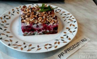 ПП салат из сельди, грецких орехов и свеклы