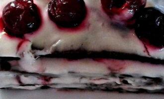Пирожное на кефире с вишней