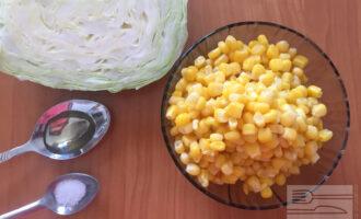 Шаг 1: Для приготовления диетического салата с капустой и кукурузой возьмите свежую белокочанную капусту и консервированную фасоль. А также соль и масло.