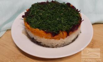 Вегетарианский салат под шубой