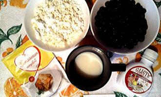 Шаг 1: Для приготовления пастилы Вам понадобятся следующие ингредиенты: творог, смородина, обезжиренное молоко, желатин и подсластитель.