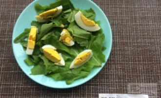 Шаг 2: Порвите салат руками и выложите на тарелку. На салат выложите нарезанное яйцо.
