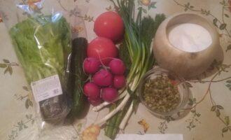 Шаг 1: Возьмите листовой салат, огурец, редис, помидор, маш, зеленый лук, укроп, соль.